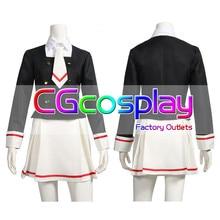 CGCOS Express Sakura Cardcaptor Tarjeta clara Sakura Kinomoto escuela uniforme abrigo Anime juego Cosplay disfraz Halloween Navidad