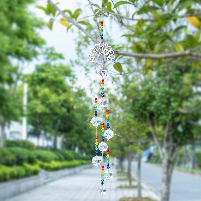 H&D Crystal Suncatcher Chakra Colors Beads Prism Tree of Life Window Hanging Ornament Rainbow Sun Catcher Home Wedding Decor