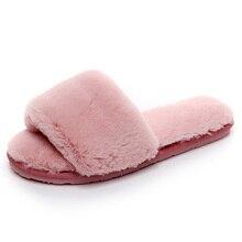 2019 mode rouge noir femmes pantoufles intérieur en peluche pantoufles automne hiver femme chaussures plates dames confortables diapositives de fourrure