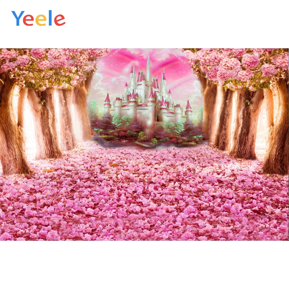 yeele dreamy castle style backdrops for photography pink flowers fairy tale backgrounds birthday party photo vinyl studio props Yeele Fairy Tale Forest Tree Flowers Castle Rainbow Photography Backgrounds Customized Photographic Backdrops For Photo Studio