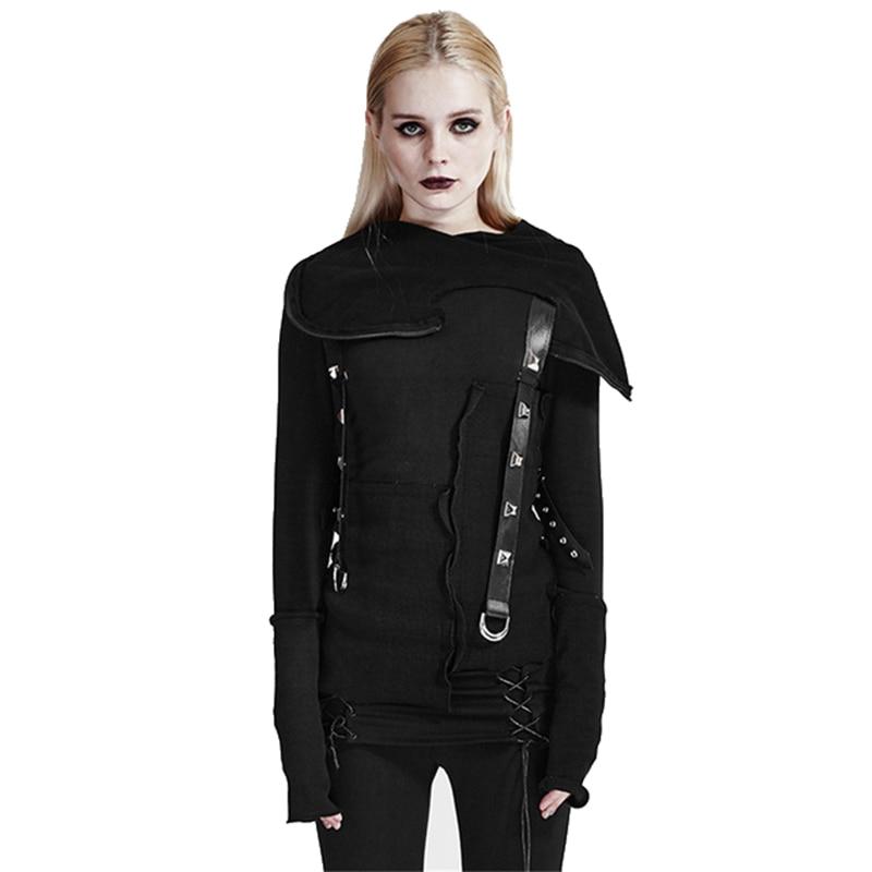 Suéter de punto de hilo negro Steampunk con capucha de manga larga ajustado suéteres de mujer