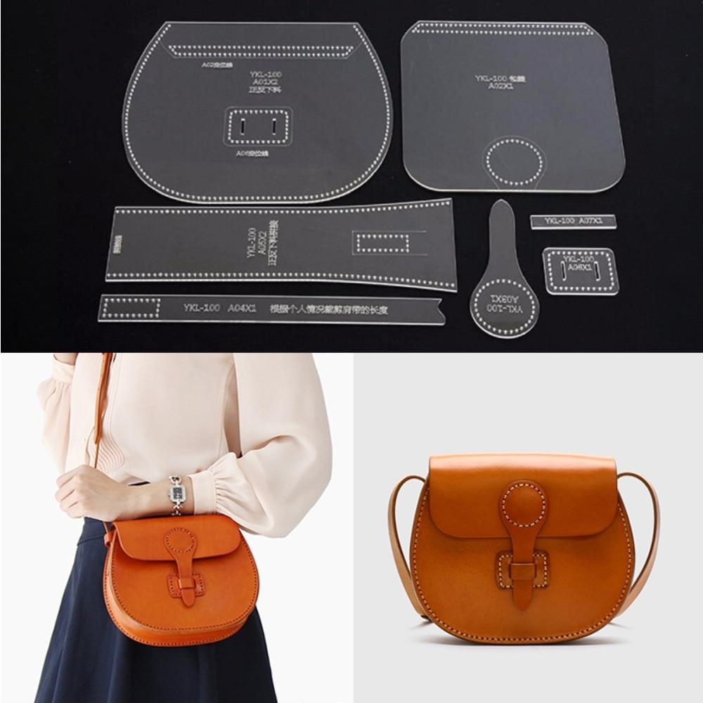 DIY, plantilla de patrón de bolso, bandolera de cuero acrílico, artesanía de cuero