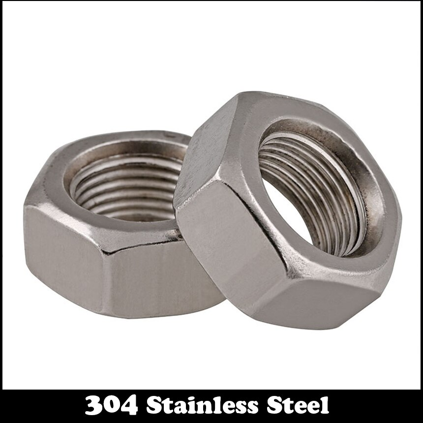 10 Uds M10 M10 * 1,25 M10x1.25 DIN934 de acero inoxidable 304 304ss fino hilo de paso fino hexagonal tuerca hexagonal