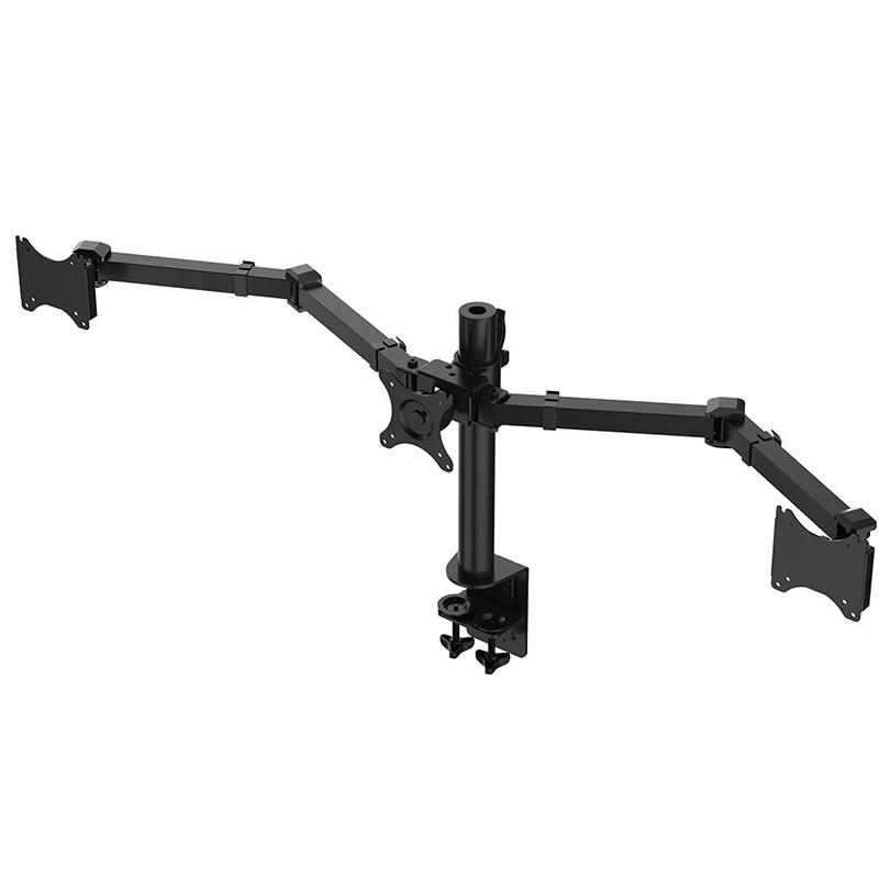 Desktop Clamping Full Motion 10-30 inch Triple Monitor Holder 360 Degree Three LED LCD Monitor Mount Arm Bracket 10kgs Per Arm