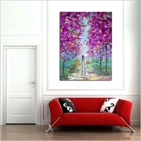 100 hand painted landscape oil painting on canvas modern abstract lover walking in purple flowers oil painting for home decor