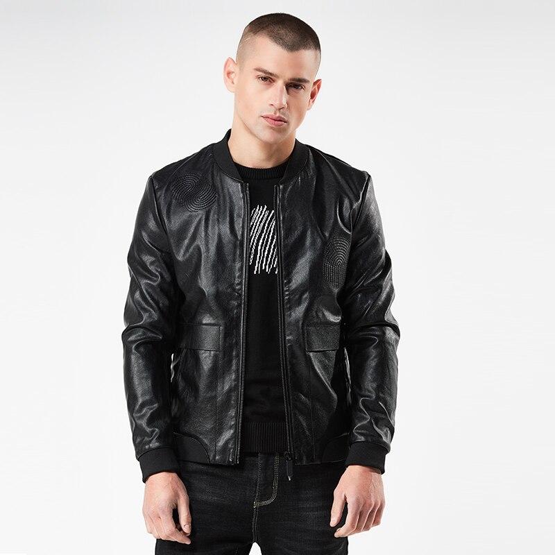 NIGRITY 2018 جديد الخريف الشتاء العلامة التجارية بو دراجة نارية السترات الجلدية أزياء الرجال الملابس زائد حجم M-4XL الذكور عارضة الأسود معاطف