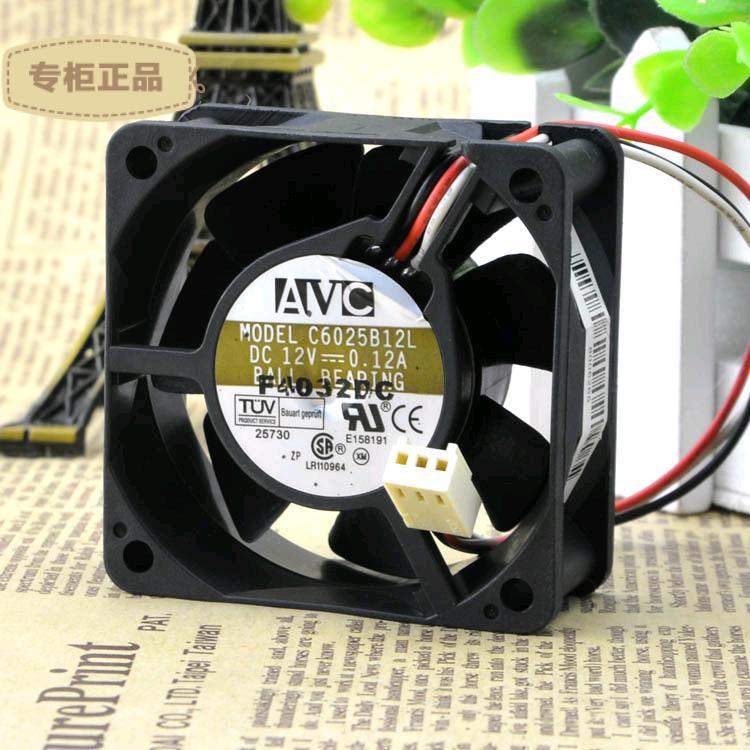 O Envio gratuito de AVC C6025B12L 6 cm 6025 6*6 cm 60*60*25mm 12 V 0.12A Fã Inversor servidor Ventilador de refrigeração