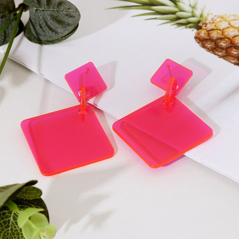 2019 New Hyperbole Geometric Long Big Acrylic Drop Earrings For Women Trendy Square Red Resin Large Earring Fashion Jewelry