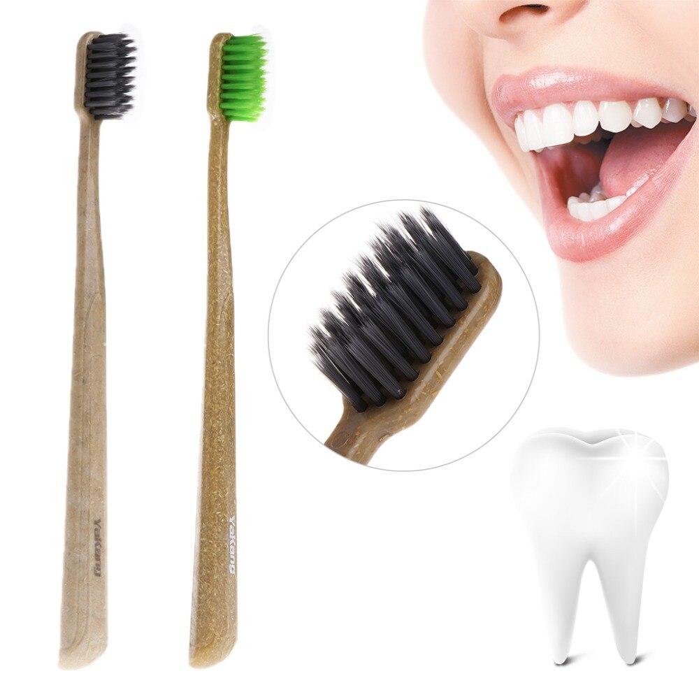 2Pcs Green Tea Nano Carbon Bamboo Toothbrush Eco Friendly Ultra-Thin 0.01mm Soft Deep Clean Teeth Whitening Tooth Brush