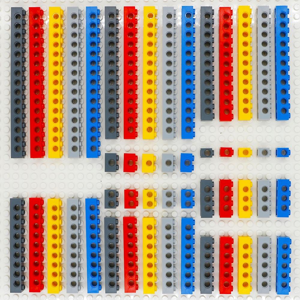 أجزاء كتلة البناء التقنية ، مجموعة من 5 ألوان مرصعة ، مجموعة من الأجزاء السميكة MOC ، 10 أحجام ، MOC