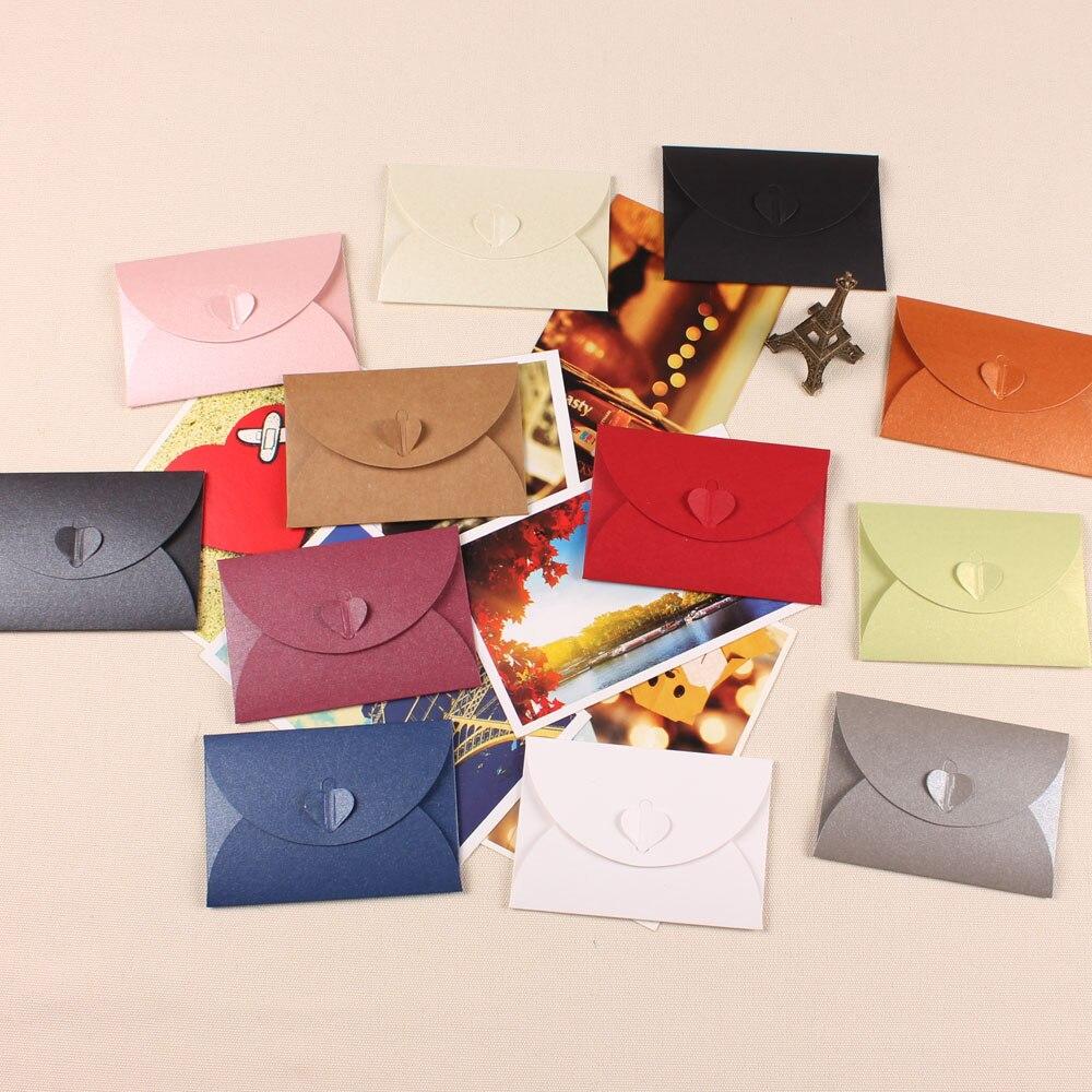 100 pcs/lot 10.5x7cm perle papier nouveau Vintage blanc papeterie enveloppes bricolage multifonction cadeau enveloppes coeur fermoir créatif