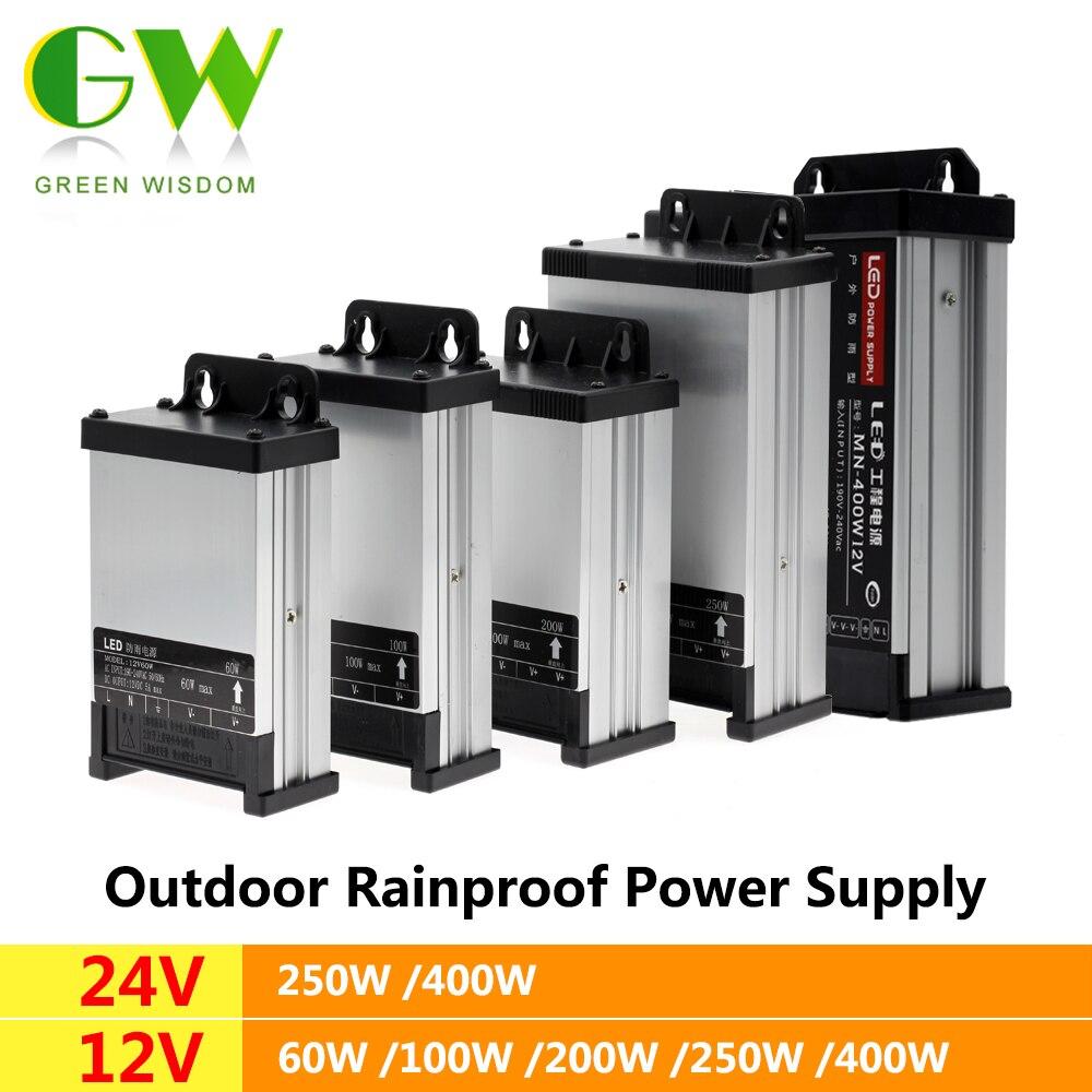 Led ao ar livre à prova de chuva fonte de alimentação dc12v 60 w 100 200 dc24v 250 w 400 led driver à prova dwaterproof água adaptador iluminação transformadores