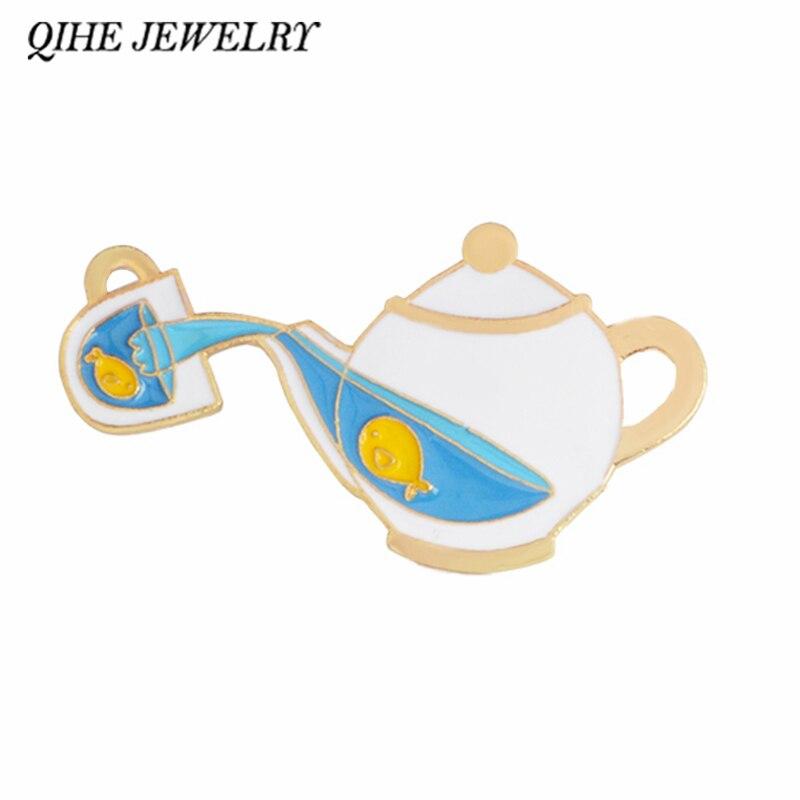 Joyería QIHE Fish Tea Pot esmalte pins insignias broches para hombres y mujeres Cut Pins Kawaii mochila sombrero bolsa Accesorios