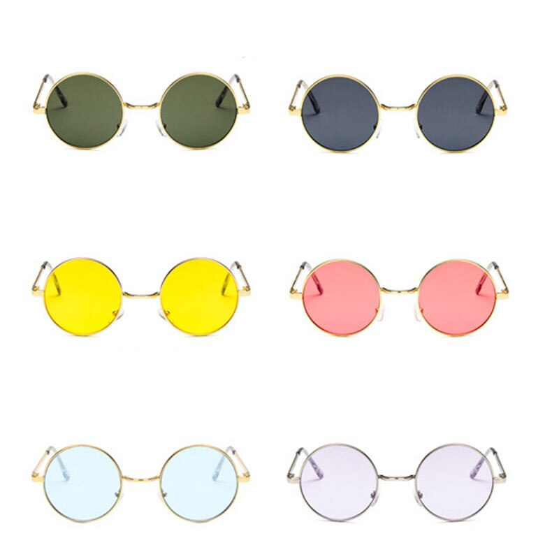 Vintage Round Sunglasses Women Ocean Color Lens Mirror eyeglasses Female Brand Design Metal Frame Circle Glasses dropshipper