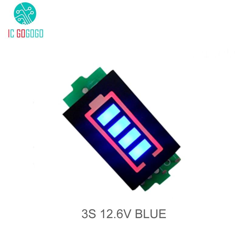 3S Módulo de indicador de capacidad de batería de litio de 3 celdas, pantalla azul de 12,6 V, vehículo eléctrico, medidor de corriente de batería eBike li-po Li-ion