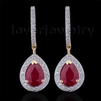 loverjewelry 100 natural diamond earrings fashion jewelry 14kt yellow gold ruby engagement earrings for women love jewelry gift
