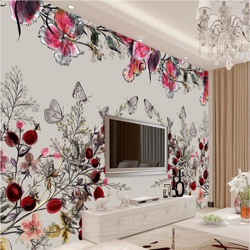 Beibehang grandes papeles de pared personalizados Moda Nórdica simples pinturas al óleo estéticas flores TV telón de fondo paredes papel parede