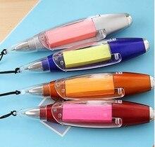 4 pièces par lot 3-en-1 multi-fonctionnel Halter stylo à bille + Note papier + lampe de poche papeterie avec chaîne couleur assortie S18217