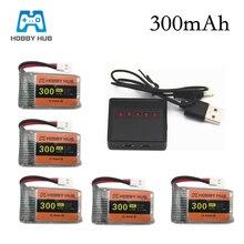 6 pièces 3.7V 300mAh lipo Batterie Avec 5in1 Chargeur Pour Syma X11 E55 FQ777 FQ17W F180 FY530 U816 U816A U830 X100 H107 S39-1 Batterie