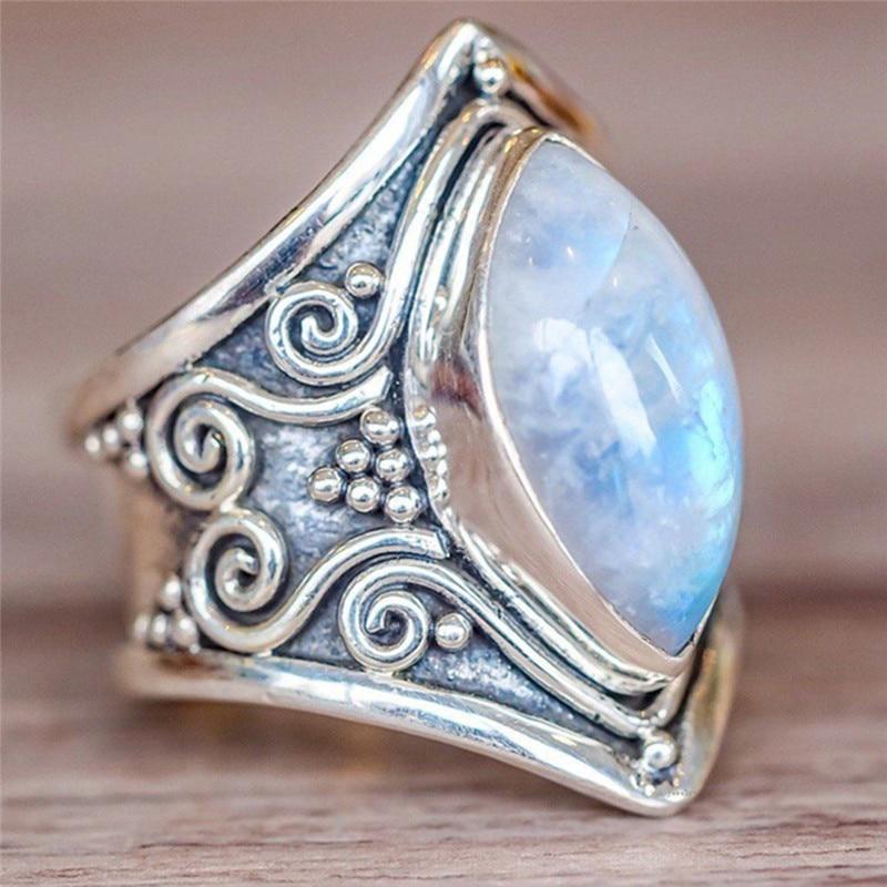 Vintage Tibetan   Big Healing Crystal Rings For Women Boho Antique Indian Moonstone Ring Jewelry Girls Ladies Gifts anillos