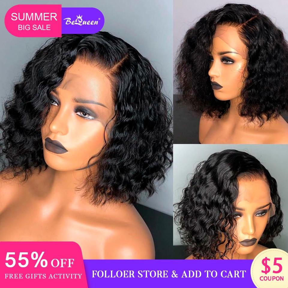 Pelucas cortas de pelo humano Bequeen pelucas de pelo humano brasileño flojas de onda profunda Bob pelucas de cabello humano para mujeres negras