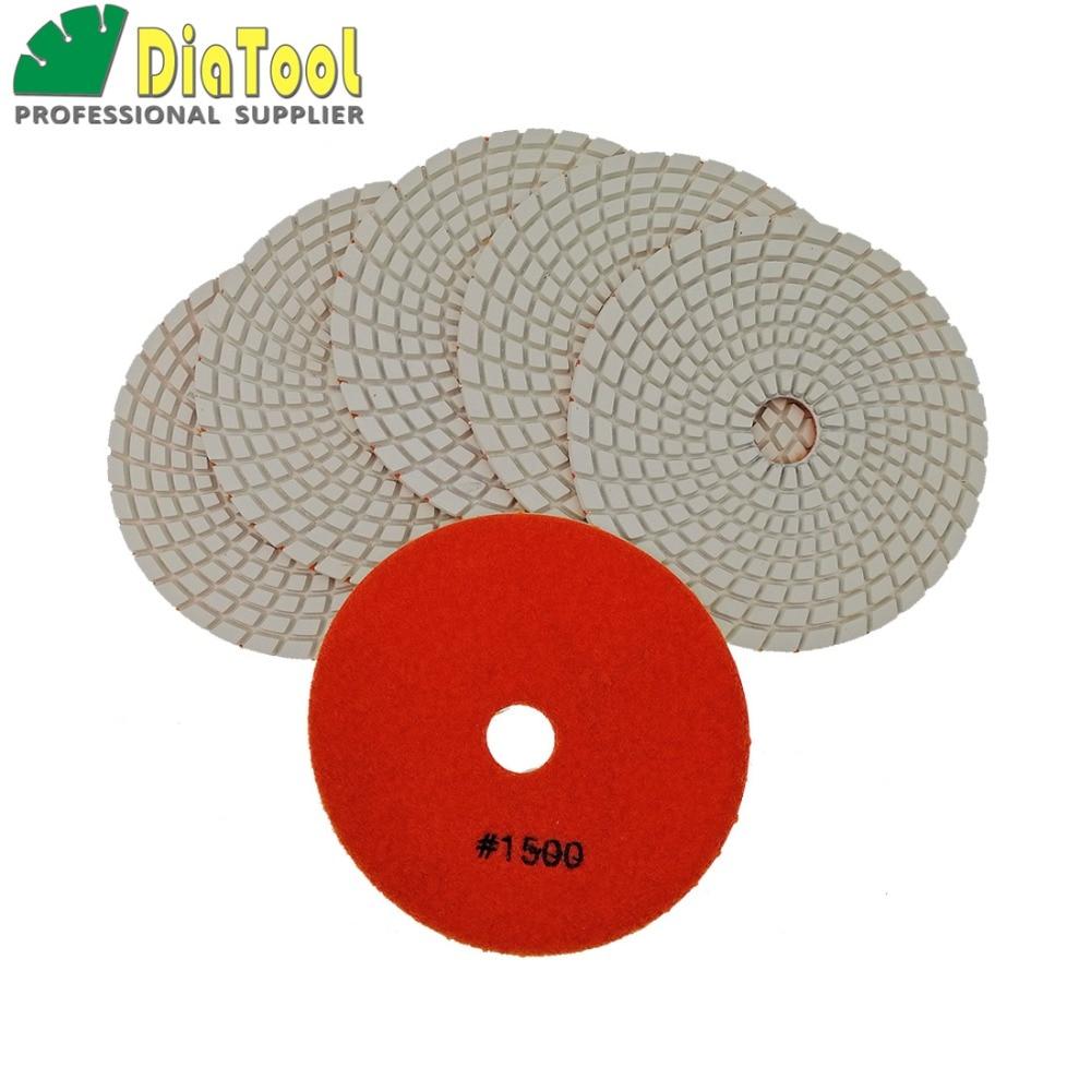 DIATOOL 6pcs 125MM #1500 Diamond Flexible Wet Polishing Pad For Stone, White Bond, Spiral Type Diameter 5 inch