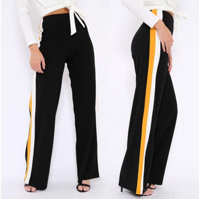 Pantalones de moda para mujer de cintura alta pisapapeles pierna ancha a rayas pantalones de Mujer talla 6-14