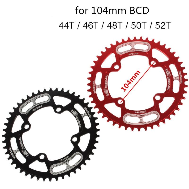 Cadena de rueda de bicicleta de montaña de 2 colores un solo 44T 46T 48T 50T 52T piñón ultraligero de bicicleta MTB positivo para negativo 104mm BCD
