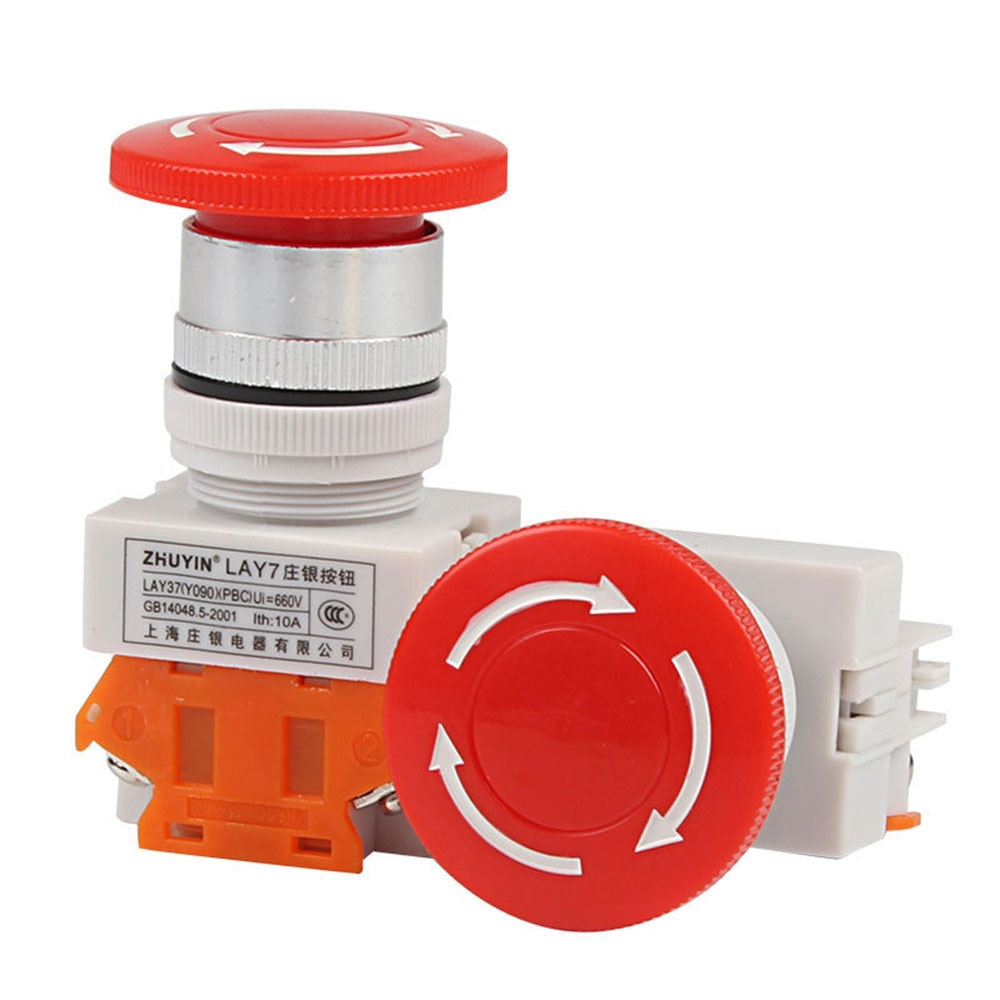 CA 600V 10A tapa roja tipo seta 1NO 1NC DPST parada de emergencia botón interruptor alarma de seguridad