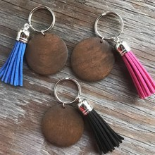 Rainbery 2020 New Wholesale Wood Monogram Keychain Round Dark Brown Wood Multicolor Tassel For Bag Ring Key Chain For Men Women