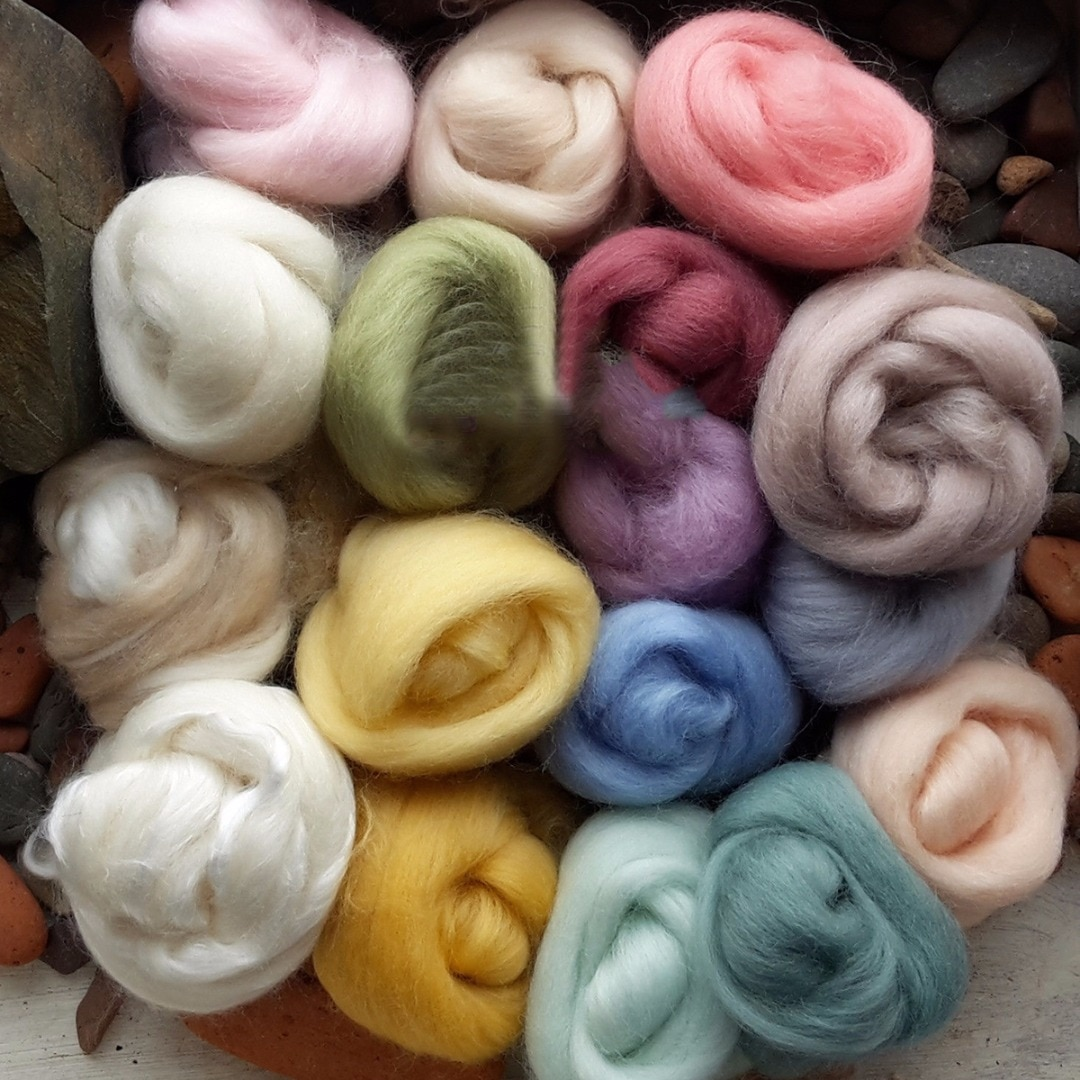 JX-LCLYL 1 juego nuevo 5g 17 colores lana Merino fibra Roving para aguja de fieltro hilado a mano