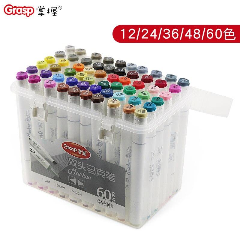 12 farben doppel kopf marker alkohol tinte farbe stifte zeichnung set Dreieck federhalter kunststoff boxed paket hohe qualität schreibwaren