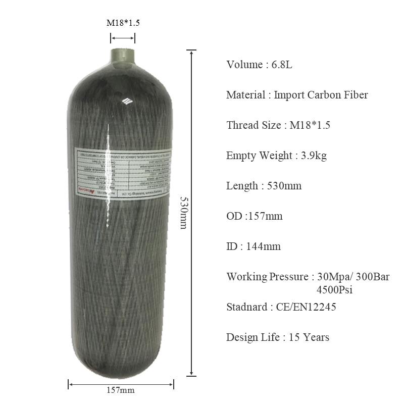 Acecare pcp rifle paintball tanque hpa 4500psi cilindro de buceo 6.8L CE para aire comprimido soda stream 2019 comprar china directa