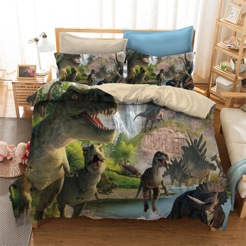 Funda nórdica Jurassic World Dinosaur wars life 2/3 Uds. Estilo británico, funda de edredón para dormitorio para estudiantes, funda de almohada, textil para el hogar