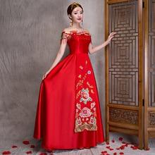 Red flower Cheongsam Qipao Long China Clothing Store Chinees Jurkje Traditional Chinese Wedding Dress Oriental Style Dresses