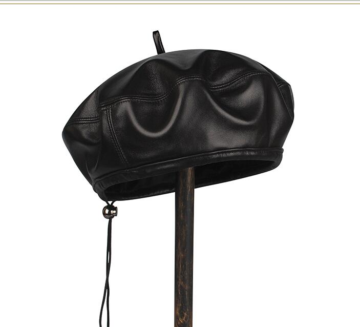 De alta calidad de cuero genuino de cuero de piel de oveja boinas para los hombres de pico de pato de invierno sombrero para hombre sombrero caliente negro sólido gorro ruso