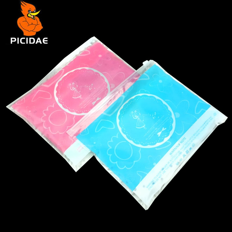 Impresión en color de dibujos animados Patrón de abrigo Bebé Niña Madre Ropa para niños Envases de plástico Bolsa Sombrero Ropa Cremallera Ziplock Transparente Ropa de vida en el hogar Embalaje de fábrica producto para