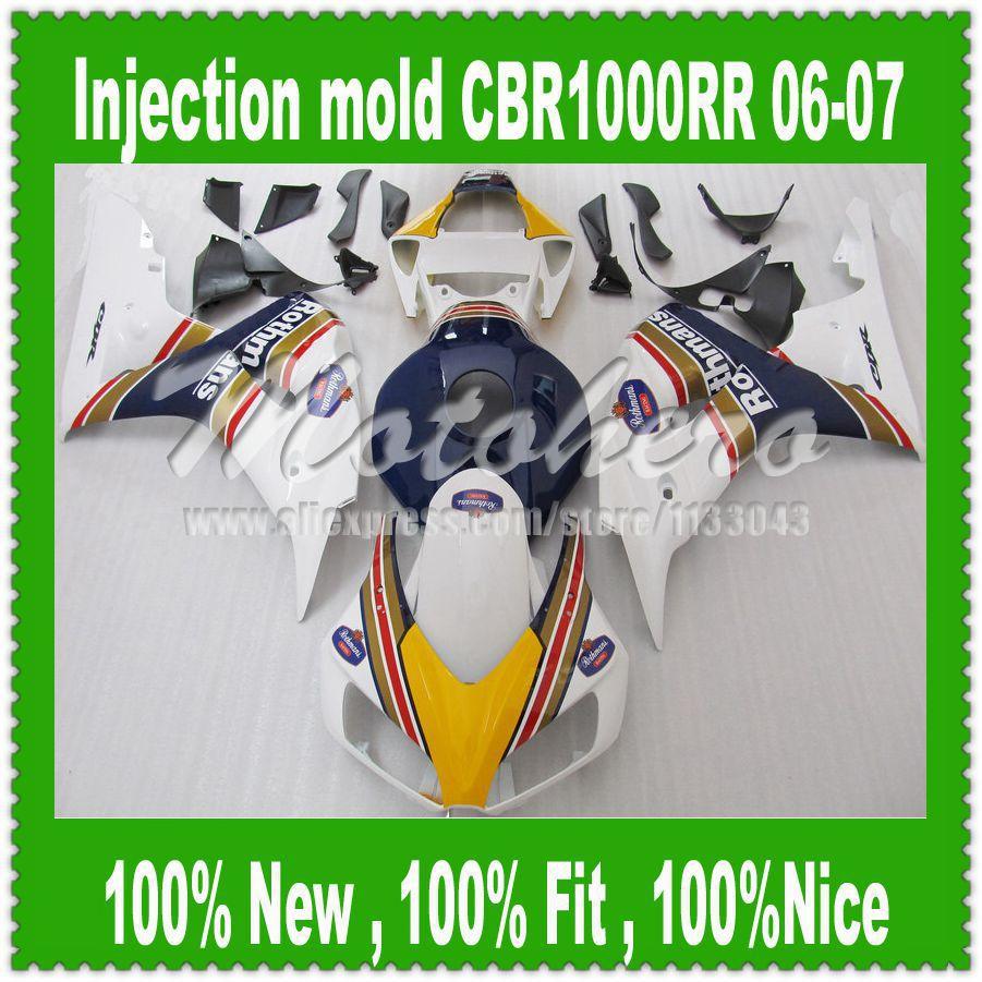 Fairing הזרקה מכויר עבור הונדה CBR 1000RR CBR1000RR 2006 2007 2006-2007 CBR1000 CBR1000RR 2006 2007 06 07 כחול לבן p88
