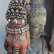 Fashion Cheap Bangle Bohemian Vintage Turkish Silver Plated Antalya Bracelet Gypsy Beach Chic Festival Silver Coin Bracelet