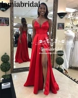 plus size black girls african prom dresses 2k19 cheap red long satin split arabic girls couple fashion 2019 vestidos de fiesta