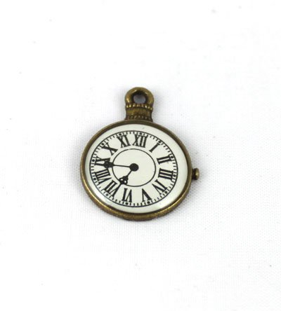 200 قطعة Antiqued البرونزية معدن المينا ساعة على مدار الساعة السحر A13610B