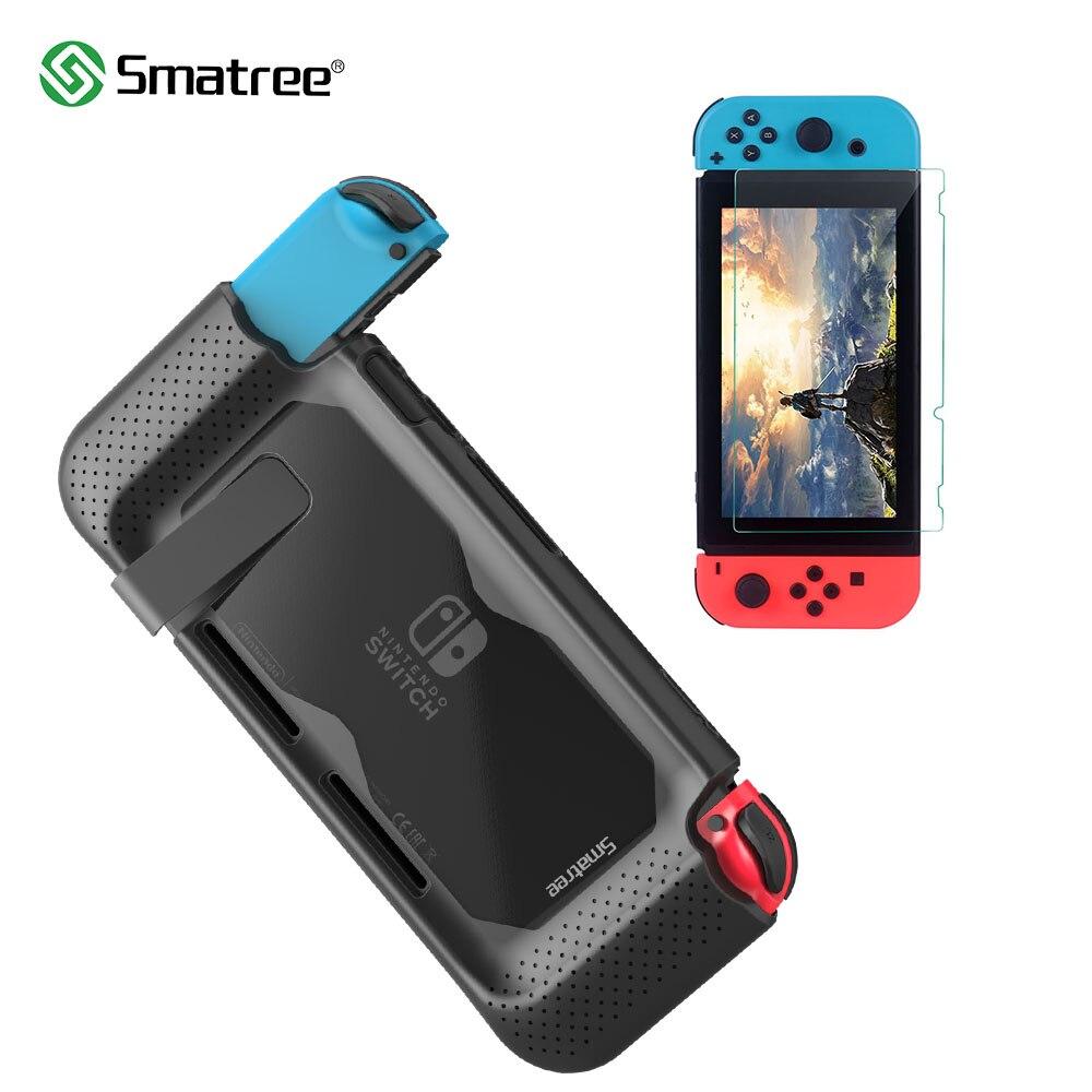 Funda protectora rígida Smatree + película endurecida para la consola Nintendo Switch, funda trasera de silicona de mano para Nitendo Switch NS