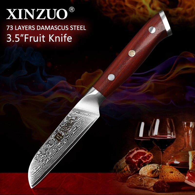 Marca XINZUO, cuchillo de cocina de pelado de 3,5 pulgadas hecho a mano de acero damasco, mango de palisandro, cuchillo japonés tallado, herramientas de cocina