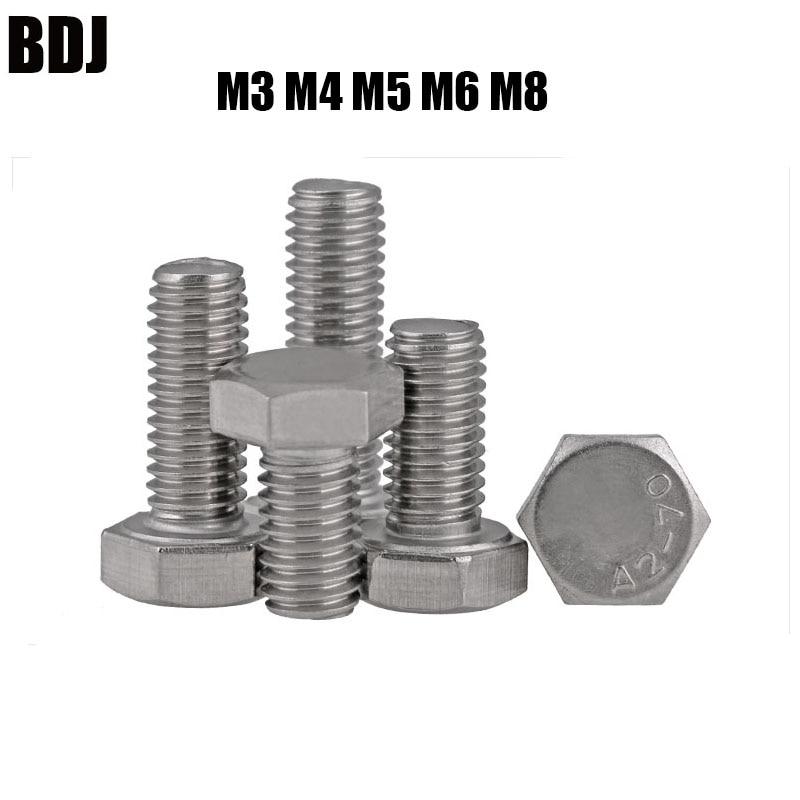 M3 M4 M5 M6 M8 DIN933 304 tornillo hexagonal de acero inoxidable rosca completa seis ángulo perno tornillo exterior hexagonal de cabeza hexagonal tornillos de cabeza SUS304