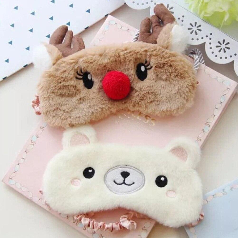 Linda máscara de ojo de Animal, parche para dormir, venda para los ojos, venado de Navidad, invierno, dibujos animados, Ojo de siesta, sombra, felpa, máscara para dormir