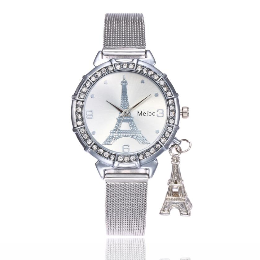 MEIBO  Fashion Women Eiffel Tower Watch Women Steel Mesh Band Analog Quartz Wrist Watches Ladies Clock for lovers gift  #D