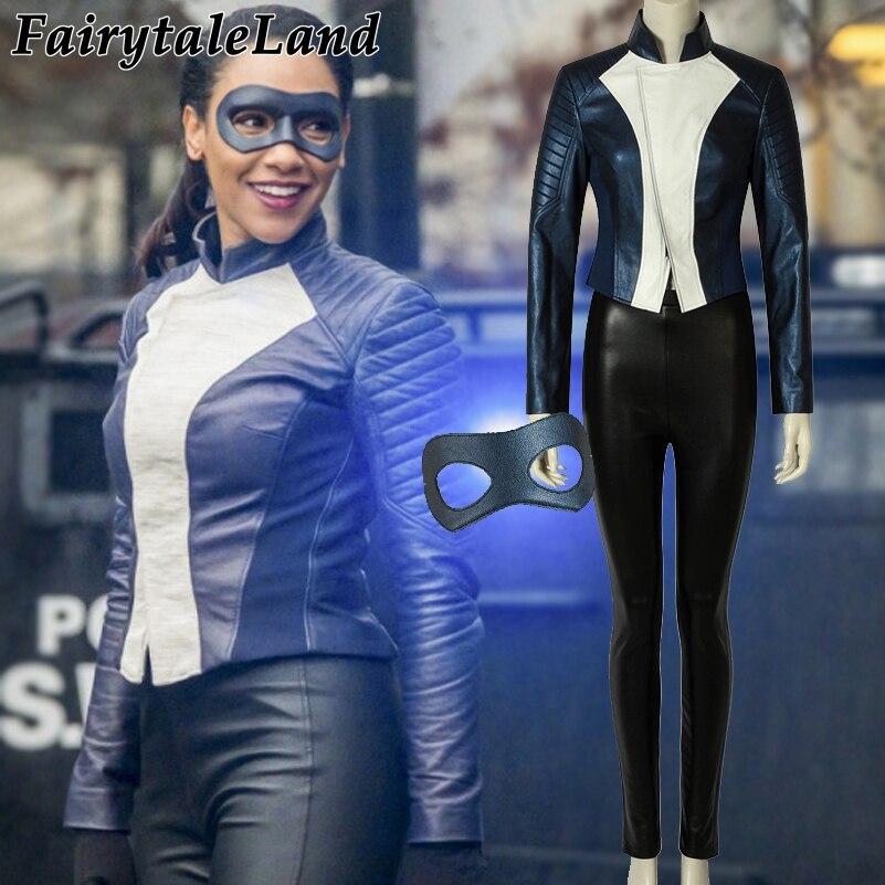 El Flash temporada 5 Iris West Cosplay disfraz de superhéroe de Halloween chaqueta de cuero traje Iris West máscara de disfraces para los ojos
