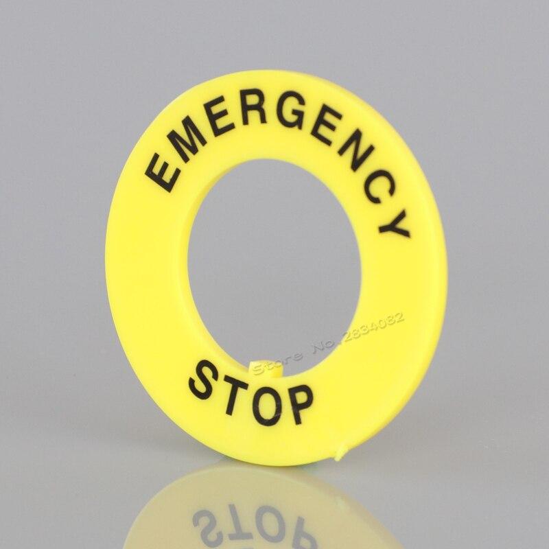 10 unidades 22mm círculo de advertencia botón pulsador de emergencia accesorios anillo amarillo Dia 40mm leyenda etiqueta placa redonda