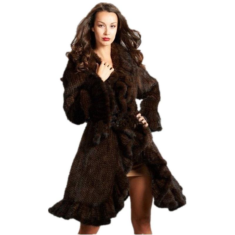 Abrigo de piel de visón genuina de lujo para mujer, abrigo de piel de visón tejido con volantes, chaquetas de piel Natural para exteriores, abrigo largo para mujer