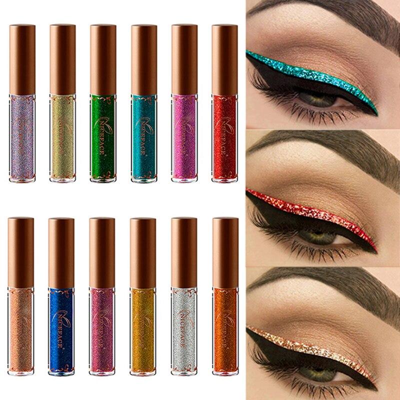 NICEFACE 12 Colors Pearled Metallic Liquid Eyeliner Shiny Eye Liner Liquid Cosmetics Long Lasting Waterproof Eye Liners TSLM1